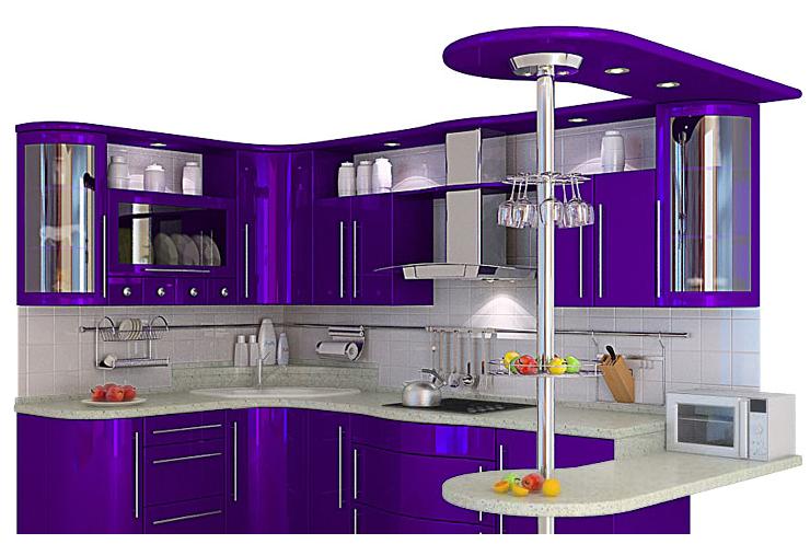 Кухня фиолетового цвета успокаивает