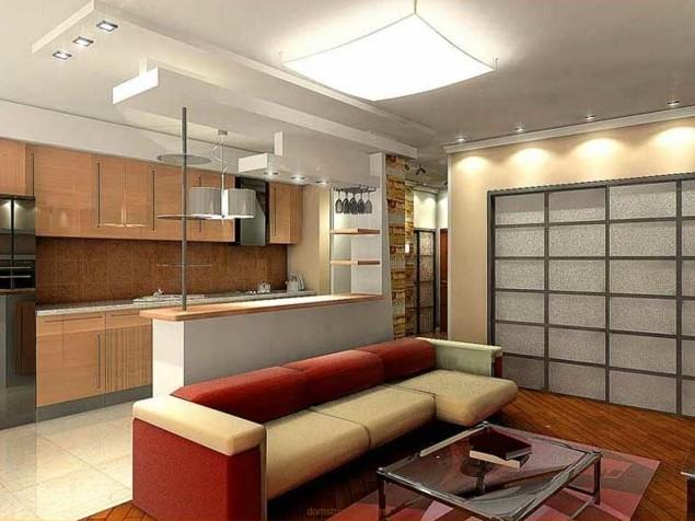 Единое пространство кухня + гостиная