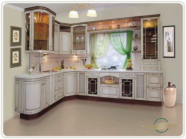 Угловая кухня классика с патиной фото