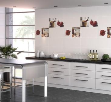 Дизайн плитки на кухне на стене в светлых тонах фото